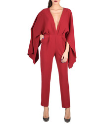 Bordeaux deep V-neck jumpsuit