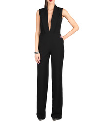Black plunge neck lapel jumpsuit