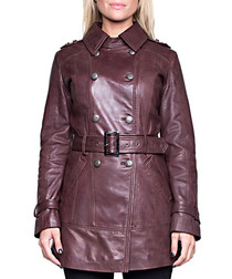 Roxane brown leather belted coat