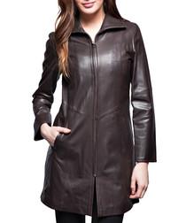 Sabatini brown leather zip coat