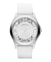 Henry white leather & silver-tone watch