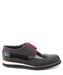 Black matte & patent leather brogues