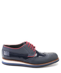 Dark blue matte & patent leather brogues