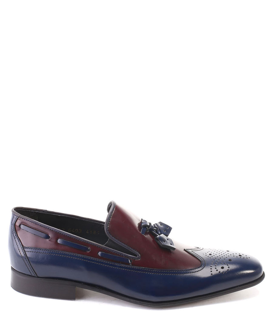 Navy & oxblood leather tassel loafers Sale - s baker