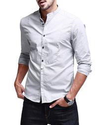 Light grey pure cotton collarless shirt