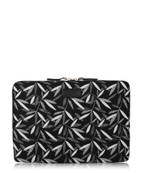 Black leaf leather trim laptop case