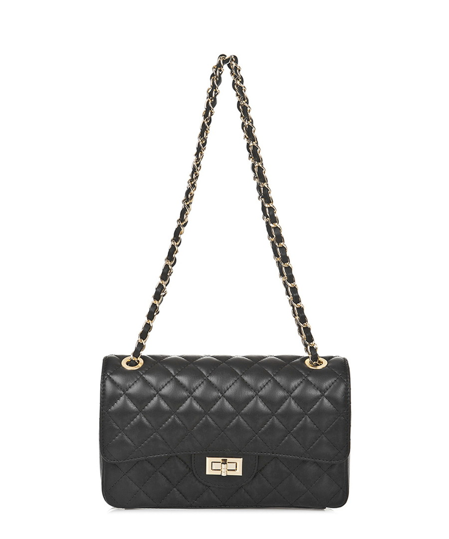 Black leather quilted cross body bag Sale - Markese