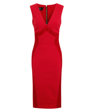 6c5addf04b4 Hybrid. Saffron red lace panel pencil dress