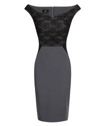 Gayna black lace off shoulder dress