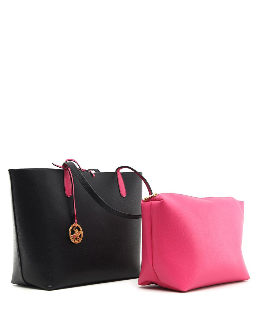 2a35498b7c ... Black   fuchsia bow tie shoulder bag Sale - Beverly Hills Polo Club ...