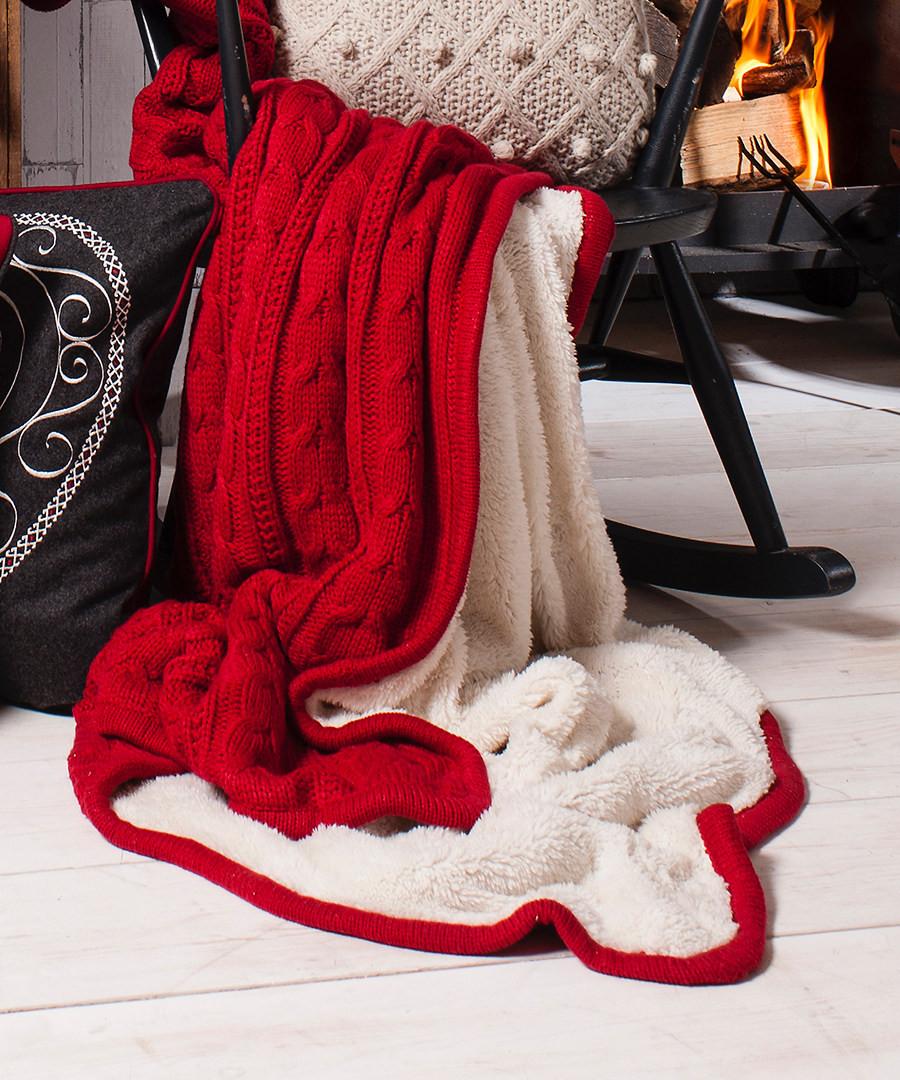 discount red cable knit throw 127cm x170cm secretsales