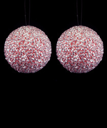 Image of 2pc pink glitter snow balls