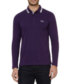Plisy purple cotton blend stripe top