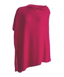 Raspberry cashmere slope neck poncho