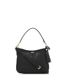 Black leather top-handle shoulder bag