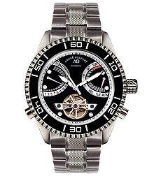 Vollier black & stainless steel watch