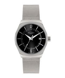 Silver-tone & black mesh strap watch