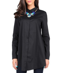 Black cotton blend long sleeved shirt