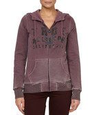 Port cotton blend zip-up hoodie