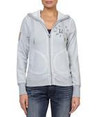 Grey cotton blend Cali logo zip-up