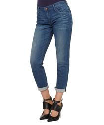 Audrey blue cotton blend mid rise jeans