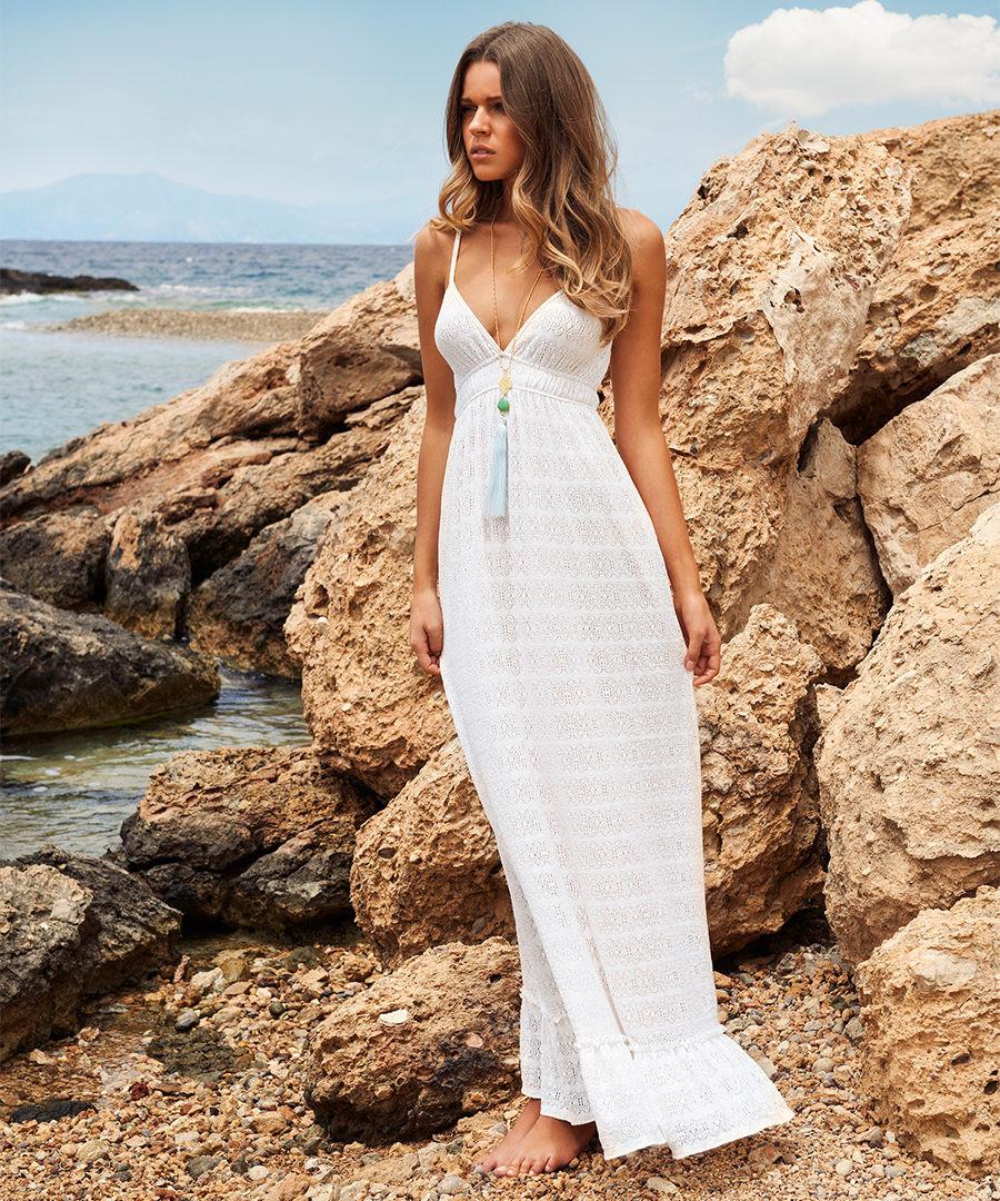 ba03b8b9874 Tara white crochet maxi dress Sale - MELISSA ODABASH