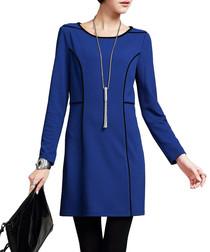 Blue & black trim textured dress