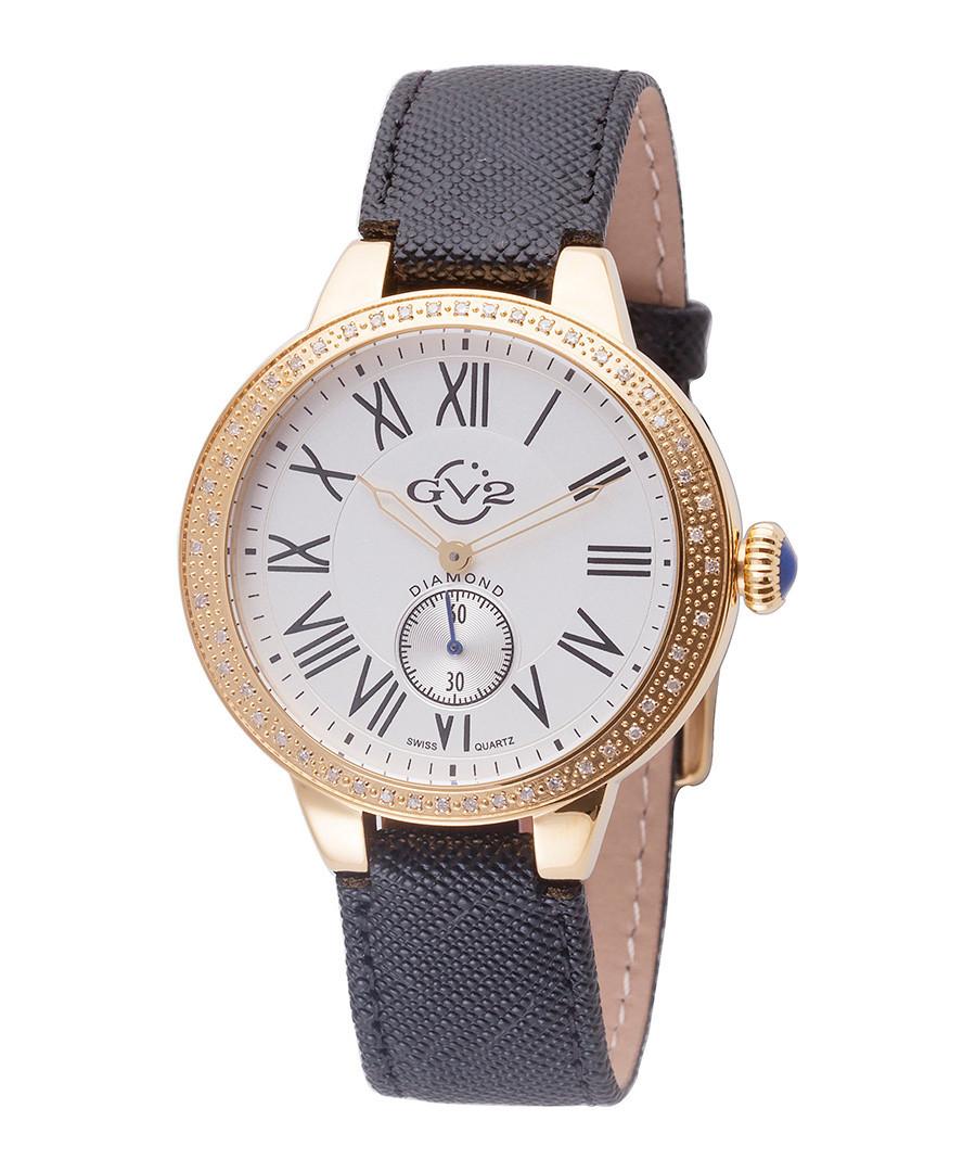 Astor gold-tone & black leather watch Sale - gv2