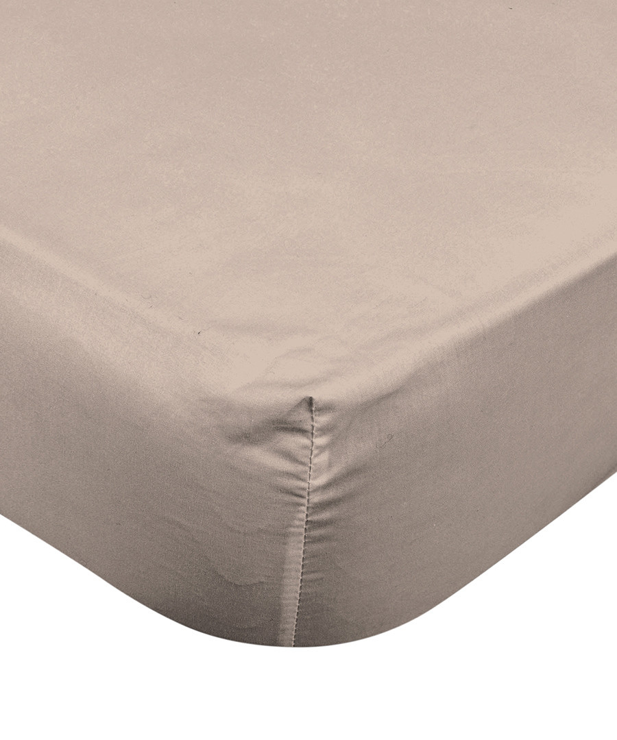 Smooth taupe pure cotton single sheet Sale - pure elegance