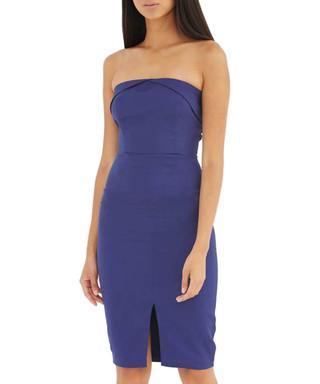 New Lipsy Michelle Keegan MK Metallic Asymmetric Lace Dress Navy 12 14 16 RRP£65