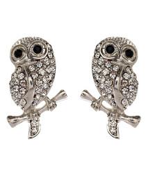 Baby Owl silver-tone crystal earrings