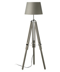 Tripod grey wood & chrome floor lamp