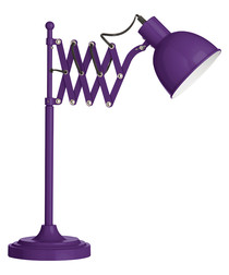 Purple metal extendable table lamp