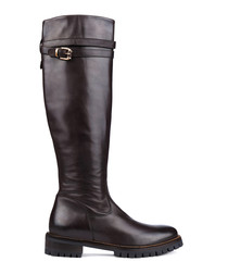 Chocolate leather zip trim boots