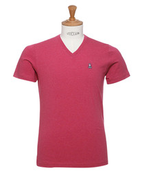 Pink pure cotton V-neck T-shirt