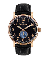 Classique IP gold-tone leather watch
