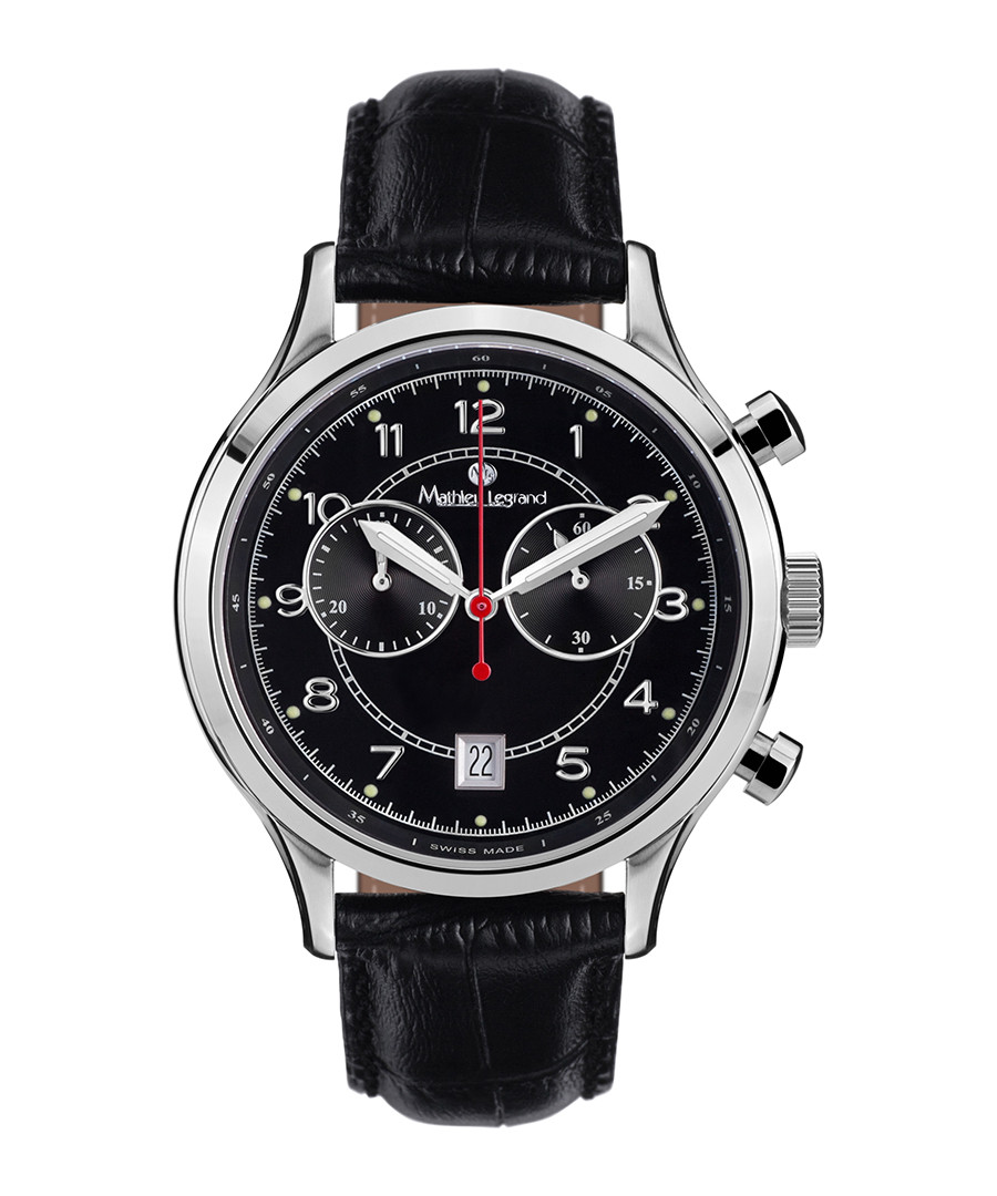 Orbite black leather & steel watch Sale - mathieu legrand