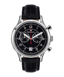 Orbite black leather & steel watch