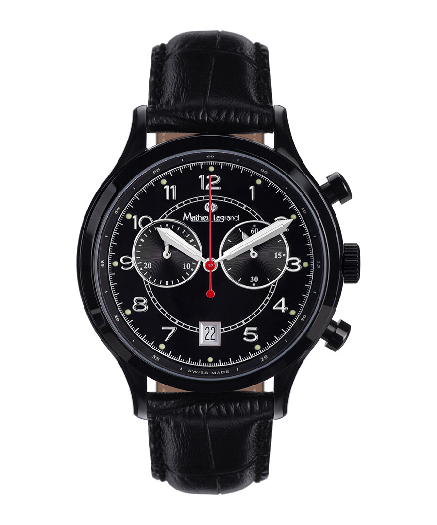 Orbite black leather watch Sale - mathieu legrand