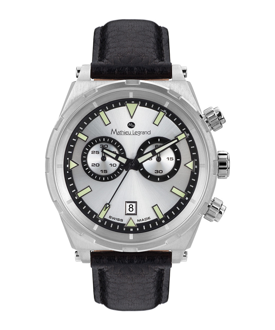 Master black leather & steel watch Sale - mathieu legrand