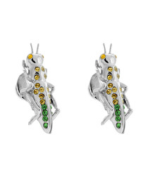 Green Swarovski grasshopper cufflinks