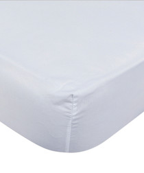 Image of White pure cotton double fitted sheet