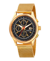 Gold-tone chronograph mesh watch