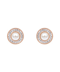 18k rose gold-plated shell pearl studs