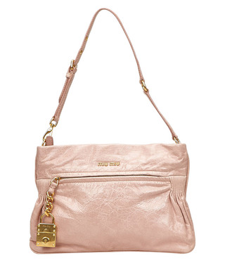 8094dfd6667 Pink leather logo lock shoulder bag Sale - Vintage Miu Miu Sale