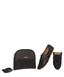 Black spot foldable sneakers & bag