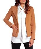 Camel pure cotton collarless blazer