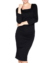 Black square neckline midi dress