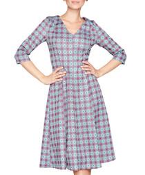 Purple geometric print midi dress