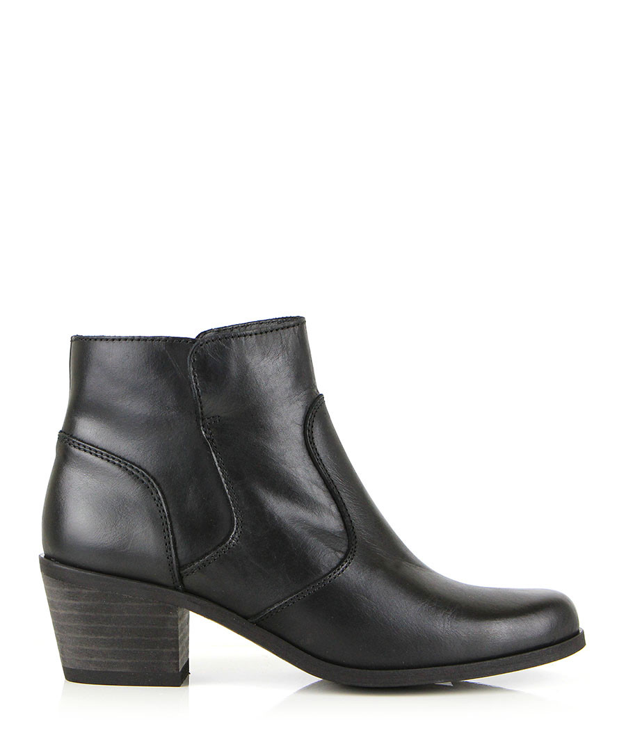seven boot black leather patterned ankle boots